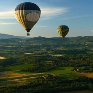 Hot air ballon flight over Chianti hills